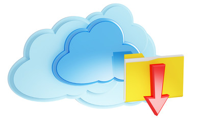 3d cloud computing icon with folder and arrow on a white backgro