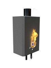 Gas boiler with flame on a white background