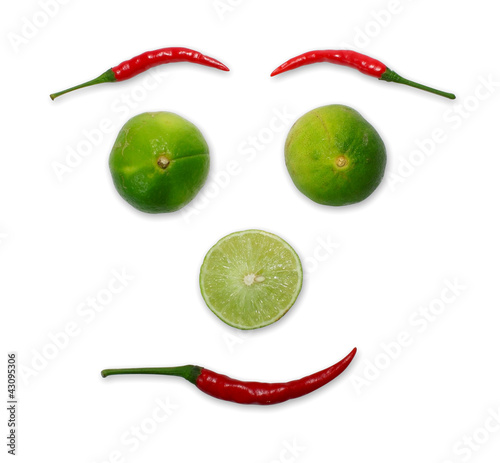 Red chili and limes face form