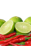 Red chili and limes