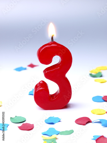 Birthday-anniversary candles showing Nr. 3