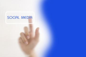 hand pressing Social media button
