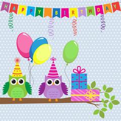 Vector birthday card with cute owls