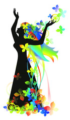 Woman with flowers for design