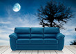 Wooden terrace and blue sofa