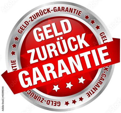 """Button Banner """"Geld-zurück-Garantie"""" rot/silber"""