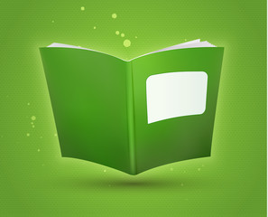 Green blank open book template. Vector illustration