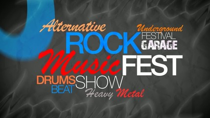 Rock music fest show word tag cloud animation video
