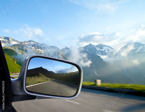 Car mirror detail, concept of speed