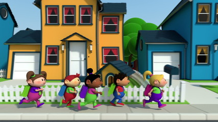 cute cartoon children running along a suburban street - loopable