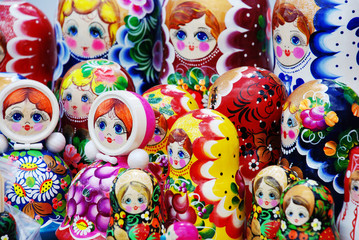 many traditional Russian matryoshka dolls