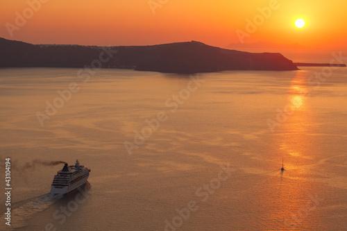 sunset at Santorini island , Greece