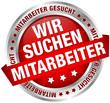 """Button Banner """"Wir suchen Mitarbeiter"""" rot/silber"""