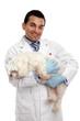 Veterinarian carrying a pet dog