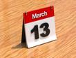 Calendar on desk - March 13th