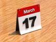 Calendar on desk - March 17th