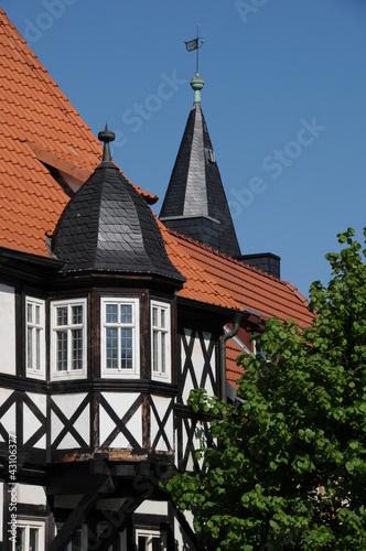 Erker eines Fachwerkhauses in Ballenstedt