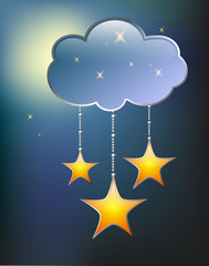 stars and clouds on a blue background