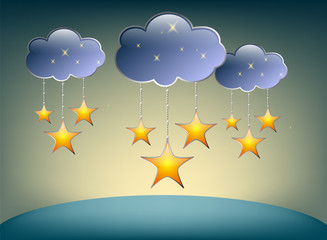 Stars and clouds on a blue background. vector