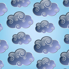 collection of clouds on a blue background