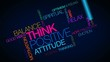 Think positive attitude thinking word tag cloud aniamtion