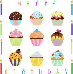 vector Icons: Cute Cupcake and Happy Birthday Candles