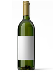 Bouteille de vin blanc sur fond blanc 1