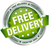 "Button Banner ""Free Delivery"" Green/Silver"