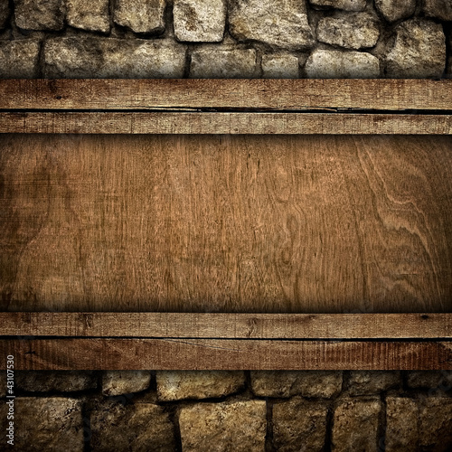 wood board on stone