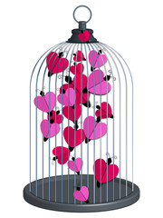 cage coeurs papillons