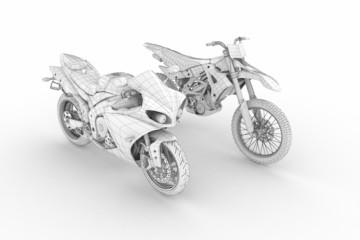 wire motorbike on white background