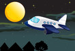a moon and airplane