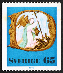 Postage stamp Sweden 1976 Archangel Michael, Christmas