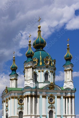 Beautiful baroque St. Andrew's Church. Kiev, Ukraine