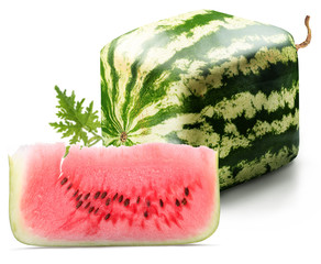 Cubic watermelon with slice
