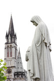 center of pilgrimage to famous cathedral in Lourdes, France poster