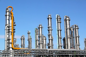 Distillation towers at a chemical plant