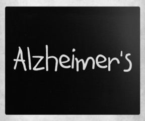 "The word ""Alzheimer's"" handwritten with white chalk on a blackbo"