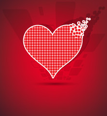 Abstract red pixel heart mosaic vector background
