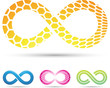 Vector illustration of Infinity Symbols with Honeycomb pattern