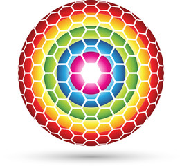 Hexagon Sphere, colorful hexagons forming an abstract ball