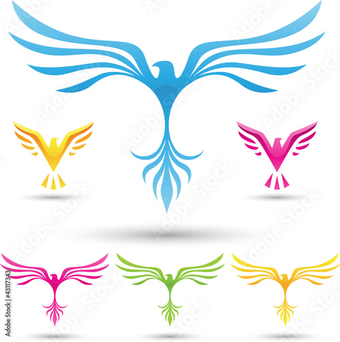 vector illustration of  various birds icons