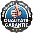 Button blau Qualitätsgarantie