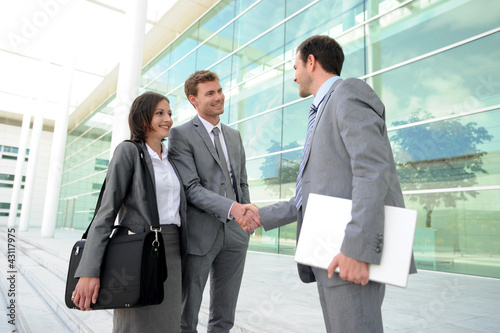 Business people meeting on a trade show