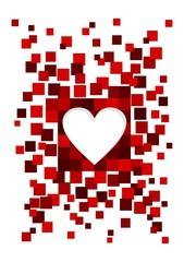 Love heart among pixels.