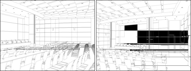 Conference Hall Interior Vector 02