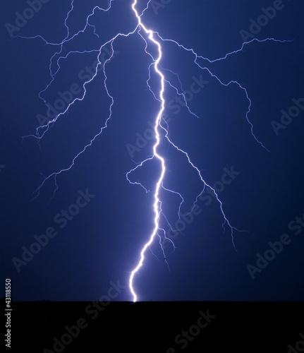 Lightning bolt at night.