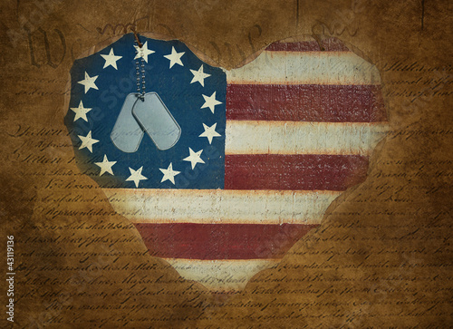 dog tags on heart flag