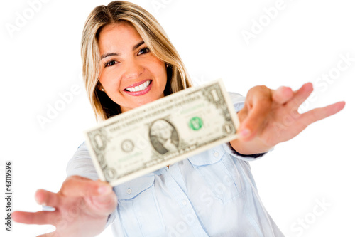 Woman holding a dollar