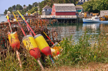 Lobster buoys and trraps in a fishing village, Maine